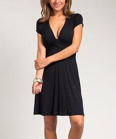 Look what I found on #zulily! Black Twist V-Neck Dress - Women #zulilyfinds
