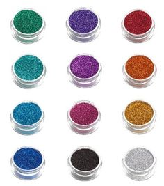 12 Pack of Glimmer Body Art Shimmer Body Glitters by Glimmer Body Art. $34.95. US Dermatologist Tested.. Each container contains 1.5 grams of glitter. Enough Glitter to create up to 30 tattoos.. Use with other Glimmer Body Art Accessories.. Lasts up to 7 days with Glimmer Body Glue.. 12 containers of glitter with colors shown.. Make wonderful glitter tattoos with quality products from Glimmer Body Arts. All glimmer glitter is dermatologist tested. This set includes 12...