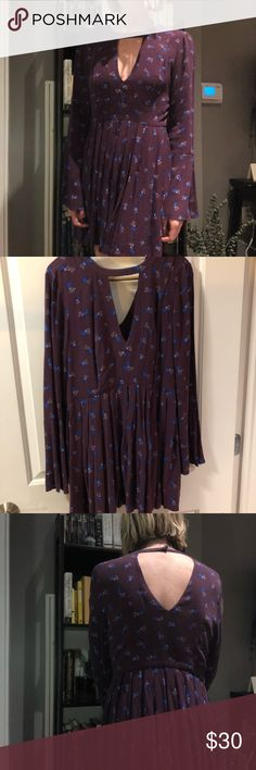 "Free People Dress Like new, only worn once, Free people ""Tegan"" dress. Plum floral pattern with front and back key hole cutouts. Free People Dresses Long Sleeve"