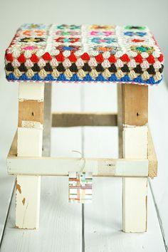 wood & wool stool birgit