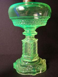EAPG 1880s Adams AQUARIS LaMP RARE 1800's Antique Vaseline EAPG Pattern Glass Oil Lamp Kerosene Green Blown~