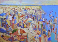 """Kathleen Elsey, """"At the Beach, Brighton,""""acrylic on canvas, 30 x 40 ins., ca. 2010. For more information about Elsey and the New Fauves, call Kamp Gallery at 847-441-7999."""