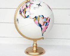 Hochzeit Gästebuch individuell von Hand bemalt Weltkugel mit | Etsy