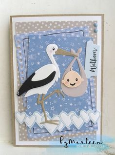 Handmade baby card by DT member Marleen with Collectables Tab with Text - NL (COL1314), Eline's Stork (COL1420) & Creatables Lots of Love (LR0450) from Marianne Design