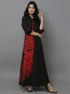 Black Red Bandhani Cotton Dress