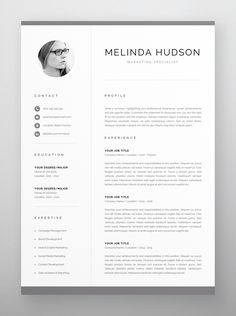 Clean, modern and professional resume design. Easy to use and fully customizable, including headings or colors. Includes resume, cover letter and references templates in US Letter and A4 formats. Available for Microsoft Word and Pages for Mac. One Page Resume Template, Modern Resume Template, Creative Resume Templates, Creative Cv, Cover Letter For Resume, Cover Letter Template, Letter Templates, Cv Design, Resume Design