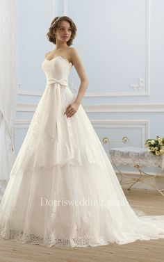 A-Line Long Sweetheart Sleeveless Lace-Up Lace Dress With Appliques And Bow