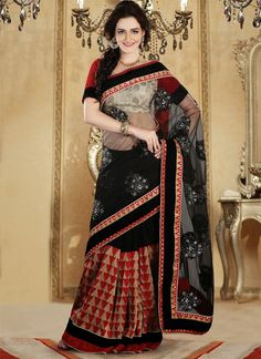 Classy Look Black Color Embroidered #Georgette #Saree