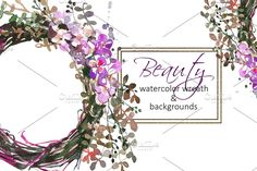 Watercolor Floral Wreath Clip Art  - Illustrations