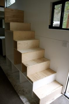 How to Build a Staircase with Storage for your Tiny Home .. http://tinyhousebuild.com/gain-sf-under-stairs/