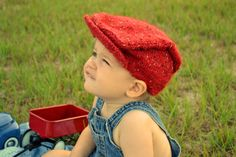 Toddler Hand Knit Hat, Baby Hat For Boys in Red Tweed Newsboy / Golf Style