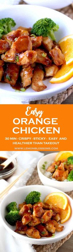 This Easy Orange chicken is crispy, sticky and delicious! A lighter and healthier version than the traditional Chinese takeout favorite! #chicken #Chinesefood #skinny #lighter #healthy #easy #Asian via @lmnblossoms
