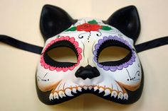 Day of the Dead Cat Masquerade mask for by FreemancraftStudio