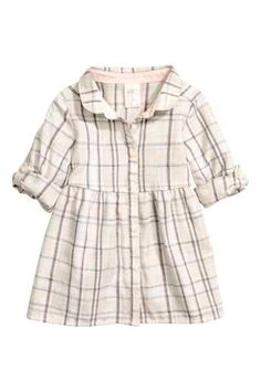 Shirt dress in soft, pattern-woven cotton fabric with a Peter Pan collar. Buttons at front, long sleeves with roll-up tab and button, Shirt Collar Pattern, H&m Baby, Button Down Shirt Dress, Peter Pan Collar Dress, Kid Styles, Fashion Kids, Baby Dress, Fashion Online, Dress Skirt