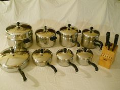 Vintage 23-Piece FARBERWARE Stainless Steel Cookware Set~Stockpots~Knives~Pans