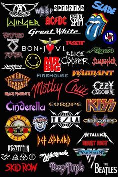 Image in pictures collection by brkwiebe on We Heart It - Imagem de brkwiebe - 80s Rock Bands, Classic Rock Bands, Rockband Logos, Metal Band Logos, Rock Band Posters, Mode Rock, Music Collage, Band Stickers, Band Wallpapers