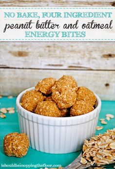 Simple Four Ingredient, No-Bake, Peanut Butter and Oatmeal Energy Bites {you probably have all of the items in your pantry to make these}