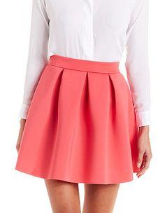 Scuba Knit Skater Skirt: Charlotte Russe