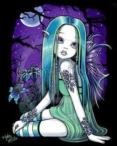 """Shop """"Luna"""" Gothic Moon Lilly Fairy Art Poster created by mykajelina. Personalize it with photos & text or purchase as is! Fantasy Kunst, Fantasy Art, Fantasy Fairies, Fantasy Dolls, Dark Fantasy, Dark Fairies, Elves Fantasy, Art Goth, Gothic Kunst"""