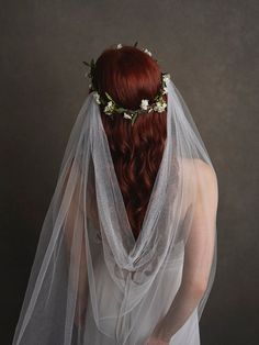 White flower crown veil bridal veil woodland by gardensofwhimsy