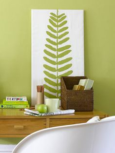 DIY fern painting...this will look fantastic in our living room