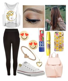 """""""EMOJI!!"""" by nicolette-music ❤ liked on Polyvore featuring River Island, Converse, Kate Spade, Argento Vivo, Catbird, Kiss My Face, Casetify and Mansur Gavriel"""