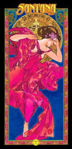 Affiche de Santana Art Nouveau par BobMasseStudios sur Etsy