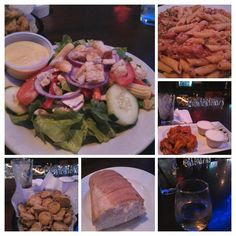 """Cajun penne pasta w/shrimp,  toss salad, fried pickle chips, hot chicken wings, and white wine spritzer. Good dinner on a Saturday night in a wonderful atmosphere. #Foodspotting #Food #GoodEatsInTheRVA"""