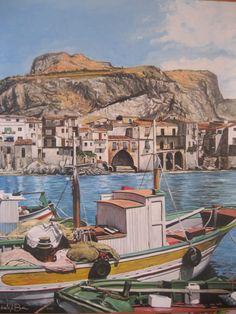 Olio su tela, 60cm per 70cm. Prezzo: 450 euro Barche e Porto di Cefalù, inSicilia, Itlaia. Contatto: micheleboscia89@gmail.com Realizzato del 2010   #art #artwork #italy #mare #cefalù #sicily #barca #mountains #buleskies #italia #paesaggio