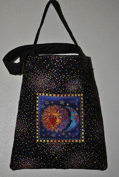 Laurel Burch Sun & Moon Applique Bag by PolkaDotPouches on Etsy, $25.00 Small Tote Bags, Laurel Burch, Sun Moon, Applique, Polka Dots, Pouch, Pattern, Etsy, Color
