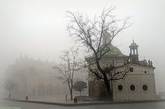 Misty market square in Krakow