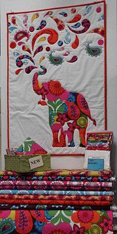 Close-up of Rainbow Paisley Elephant. Looks like this could be made from a charm pack. Satin Moon Quilted Garden in Victoria, B.C.