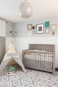 "My client, who had a clear vision for the look and feel she wanted in this nursery, contacted me months before her baby was due.  She knew she wanted some type of wainscotting, soft colours and a somewhat ""boho"" feel to the space.  Above all else, she knew she'd be spending a lot of time there, so she wanted to love it.  And I'm happy to say she does!"
