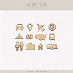 Wood Veneer Travel Icons by Gina Cabrera of Digital Design Essentials