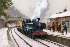 Railway & Landscape Paintings by Rob Rowland GRA. Christmas Special at Parkend Station in the Uk Rail, London Underground Stations, Steam Railway, Train Art, Railway Posters, British Rail, Old Trains, Train Pictures, Great Western