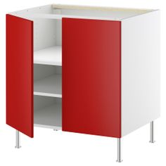 "AKURUM Base cabinet w shelf/2 doors - birch effect, Rubrik Applåd light turquoise, 30 "" - IKEA"