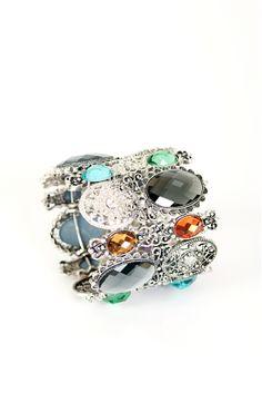 multiple cuff bracelets   Multi-Colour Gem Enamel Cuff Bracelet