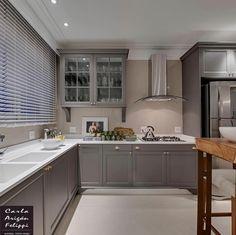 "5,116 Likes, 24 Comments - Decor•house•Home•Casa•Int•arq (@_homeidea) on Instagram: ""Mix do cinza e bege na cozinha by Carla Felippi. Amei! @pontodecor Via @maisdecor_…"""