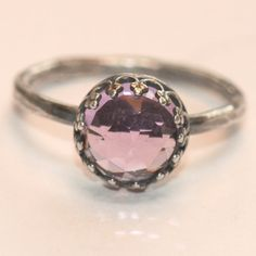 Large Purple Amethyst Ring Size 6 Oxidized Sterling Silver Crown Ring Handmade by Maggie McMane Designs