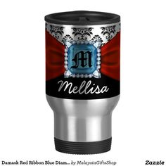 Damask Red Ribbon Blue Diamond Monogram And Name 15 Oz Stainless Steel Travel Mug