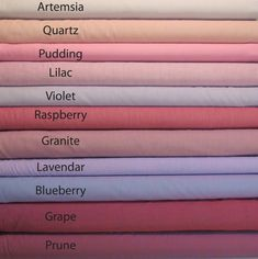 A yarn-dyed woven fabric in colors by Kaffe Fassett. Purple Color Chart, Color Names Chart, Colour Shades With Names, Color Shades, Color Symbolism, Color Combinations For Clothes, Colors And Emotions, Embroidered Lace Fabric, Color Psychology