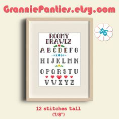 GranniePanties.etsy.com original stitched alphabet (A-Z). Roomy Drawlz Letters are 12 stitches tall $6 instant download PDF  Visit GranniePantiesAZ.com for FREE premium patterns  #crossstitch #xstitch #granniepanties