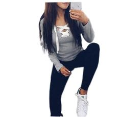 Sexy Casual Kawaii Hoodies Sweatshirts 2017 Women Fashion Long Sleeve V-neck Bandage Hoodies Shirts Casual Sexy Women Tops GV371