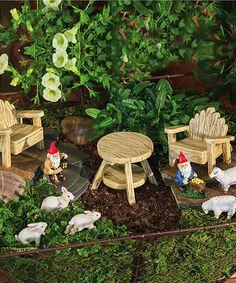 Would be so cute to set up a fairy garden.  Rustic Mini Garden Set