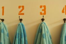 Numbered bathroom hooks - perfect for a kids bathroom