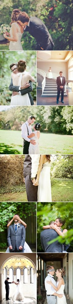 """Romantic """"first look"""" pictures of seeing the bride before the wedding."""