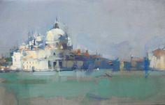 "Maggie Siner (American) ""Punta della Dogana"", 2009, 14 x 22 ins, oil on linen"