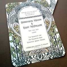 Gatsby Garden Wedding Invitations - Art Nouveau Art Deco - Invitation and Reply cards - Sample