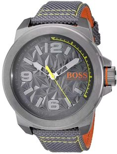 6e74fc3d6d73 BOSS Orange Mens NEW YORK Quartz Resin and Canvas Casual Watch Color Grey  Model  1513344   Examine this remarkable product by mosting likely to the  link at ...