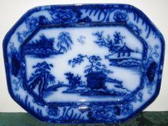 blue flow platter 4 Flow Blue China, Blue And White China, Red White Blue, Cobalt Blue, Yellow, Blue Dishes, White Dishes, Vintage China, Vintage Plates